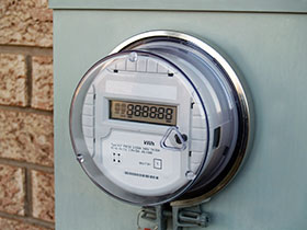 Smart meter outside a customer's house